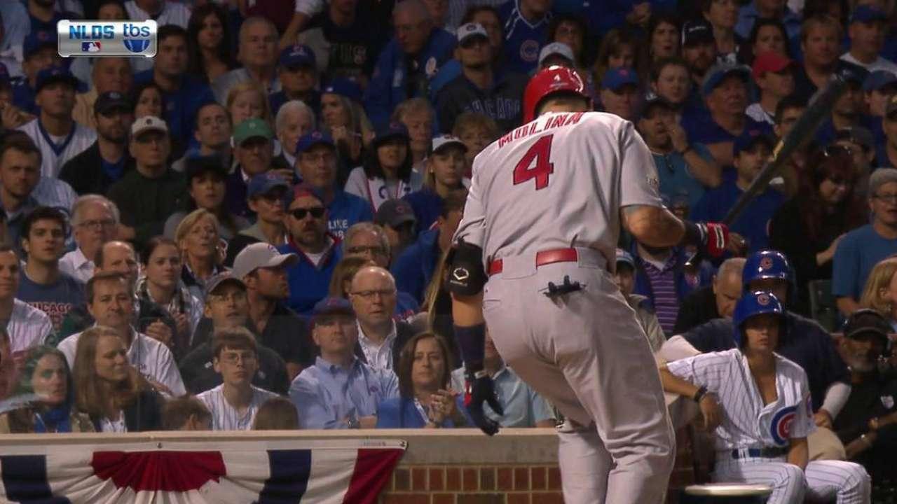 Molina shaken up on swing