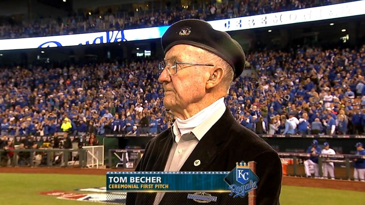 Retired veteran's first pitch
