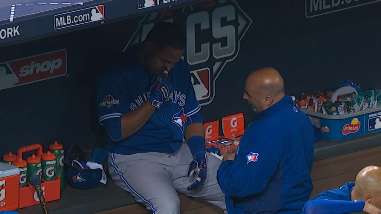 Encarnacion exits with finger ligament sprain