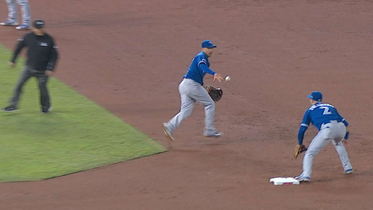 Goins, Tulo end threat with slick double play