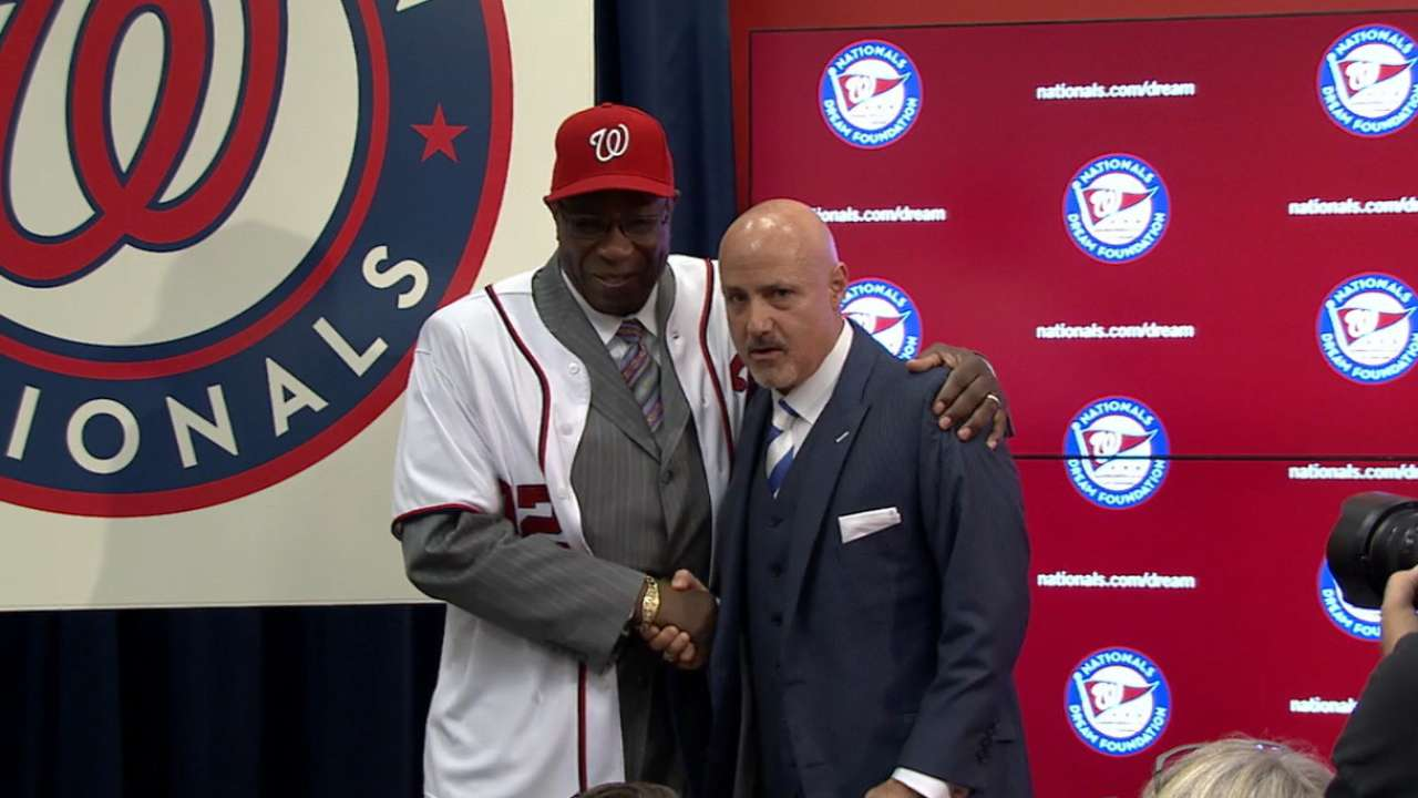 Nats introduce Baker as manager