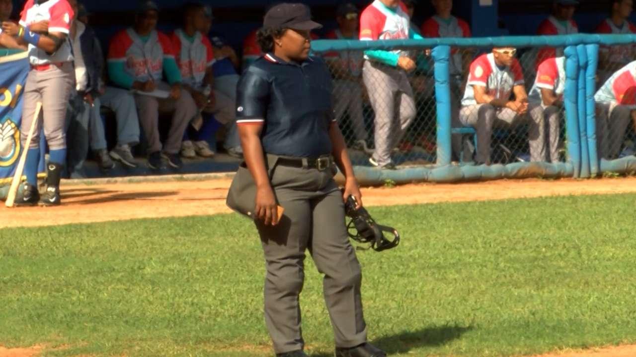 Female umpire calling top games in Cuba