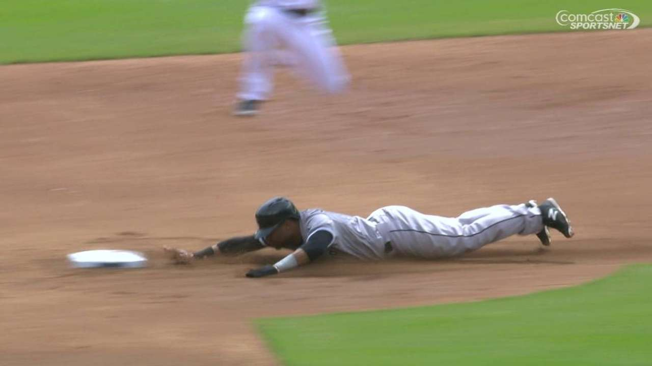 Johnson's first big league steal