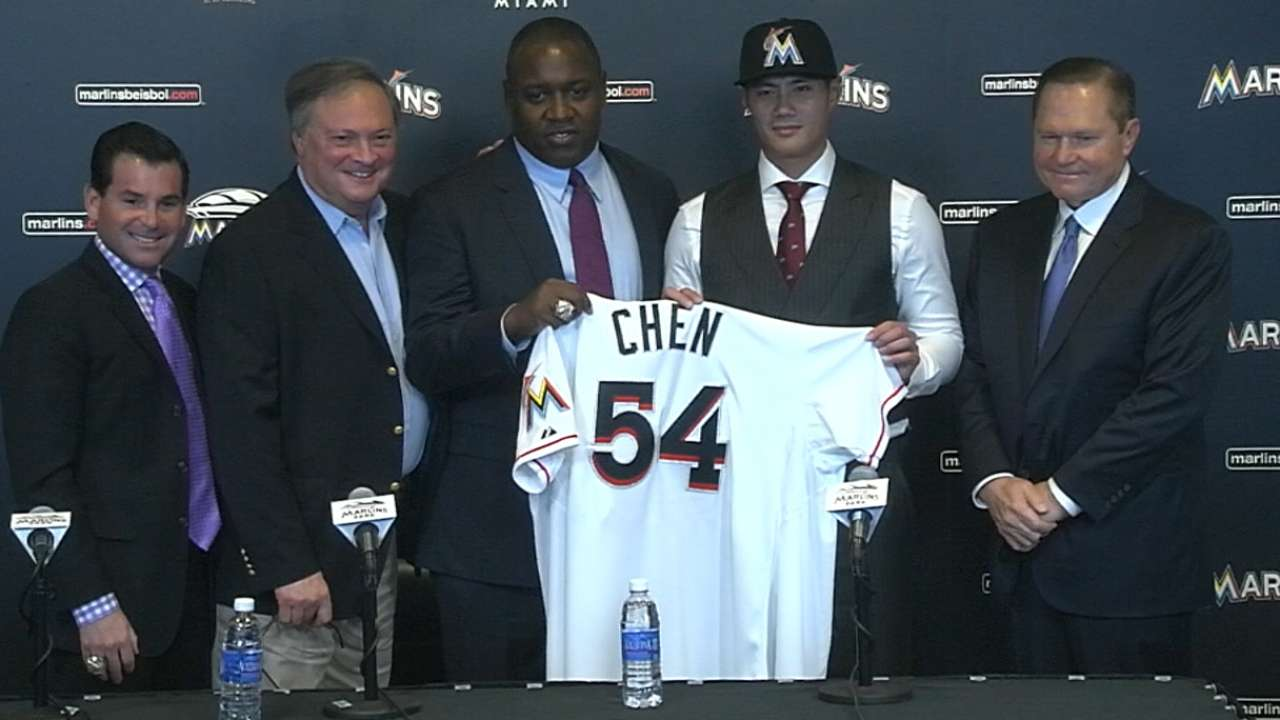 Chen among Marlins' newcomers for 2016