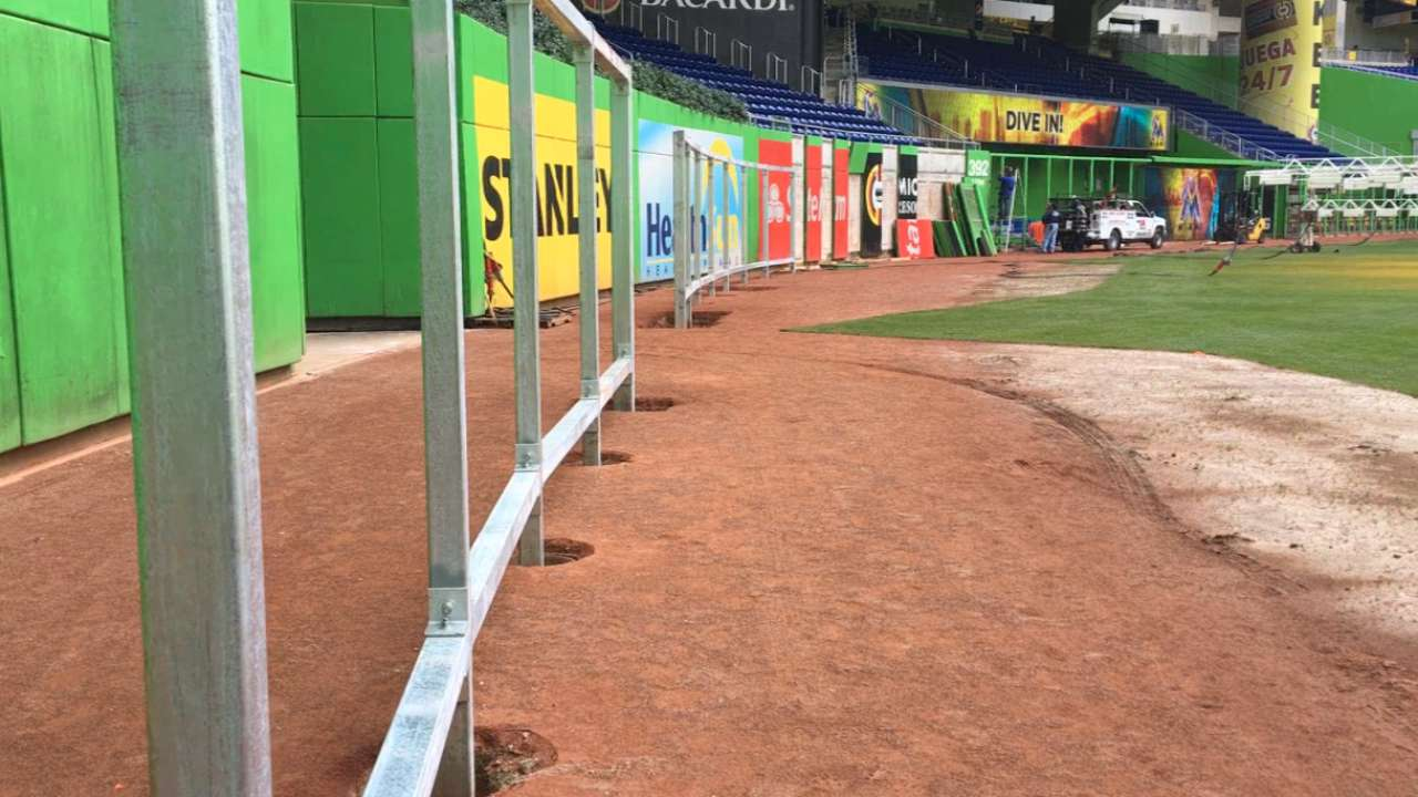 Marlins Park fence renovation underway