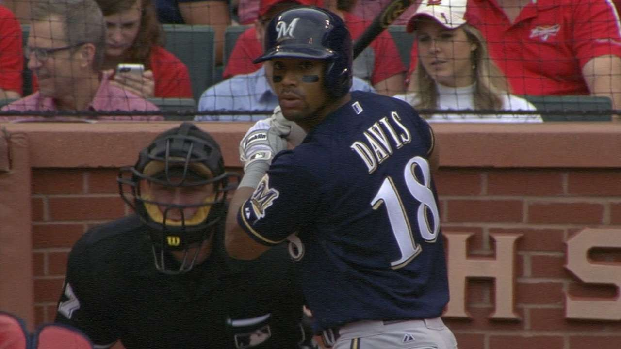 A's trade for Brewers outfielder Davis