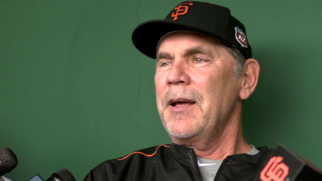 Bochy on new faces at workout