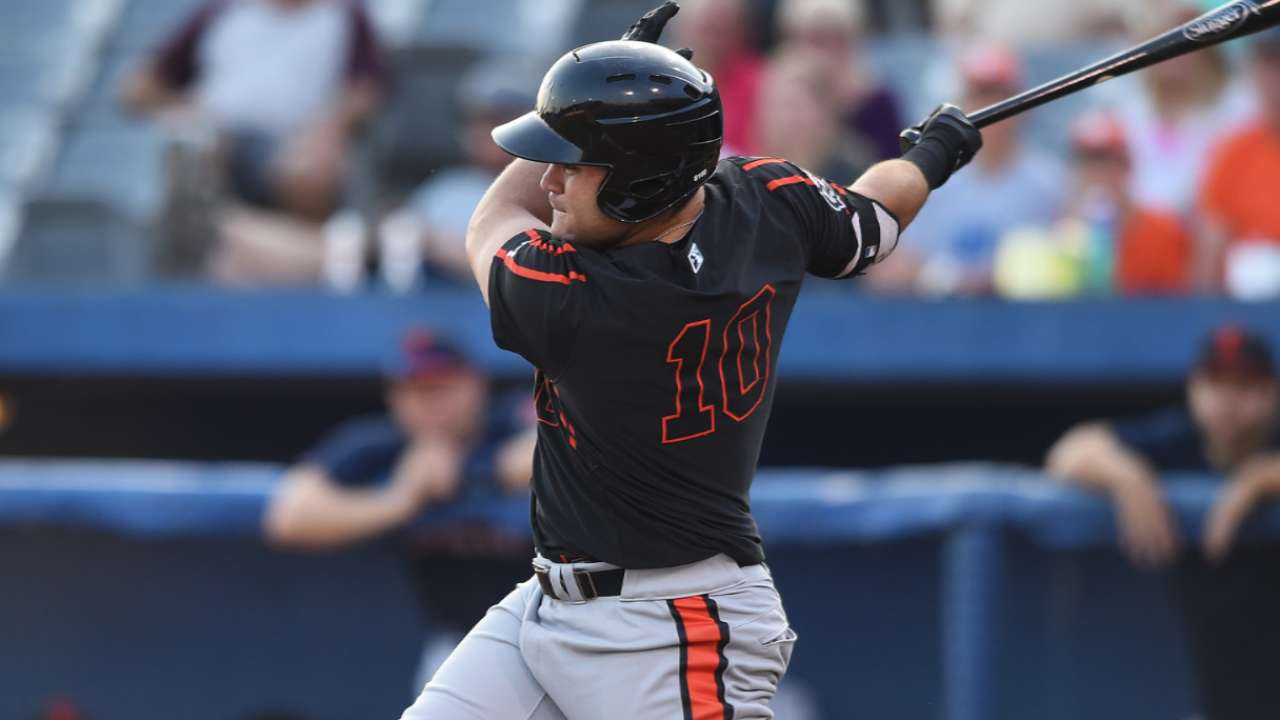 Stewart hits first AFL homer in front of Orioles' brass