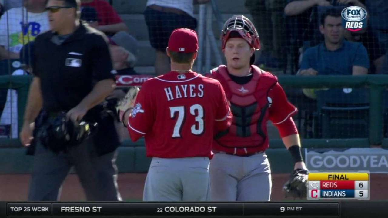 After long wait, Hayes making case with Reds