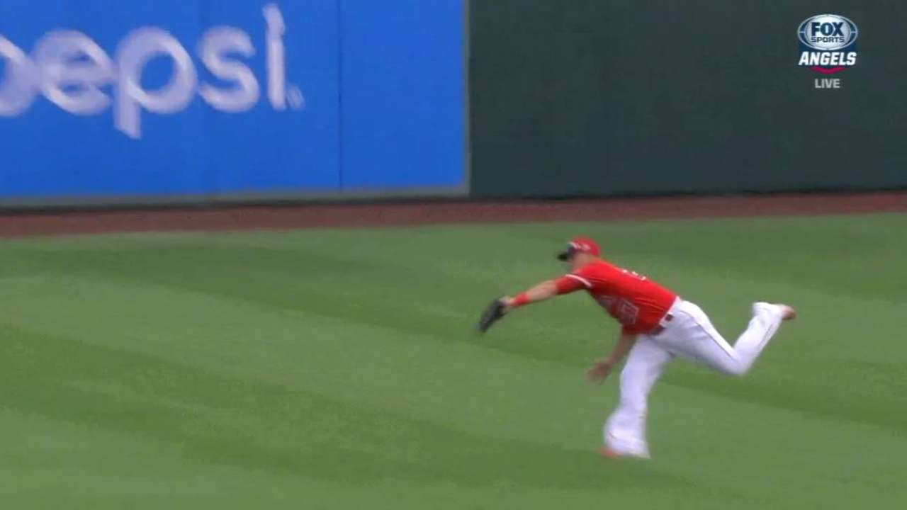 Trout's running catch