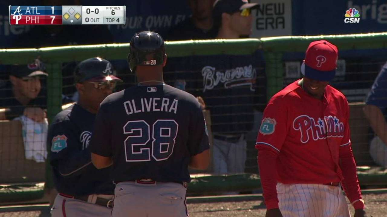 Braves looking to get Olivera accustomed to left field