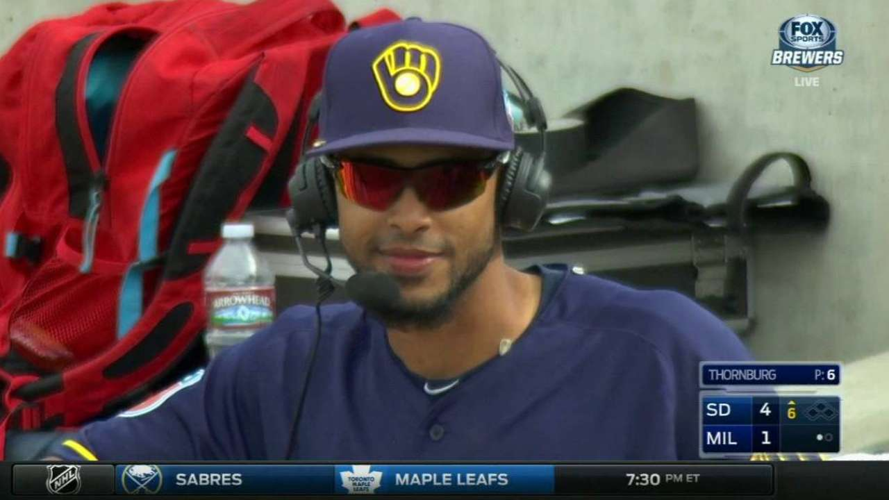 Brewers shower Rivera with seeds