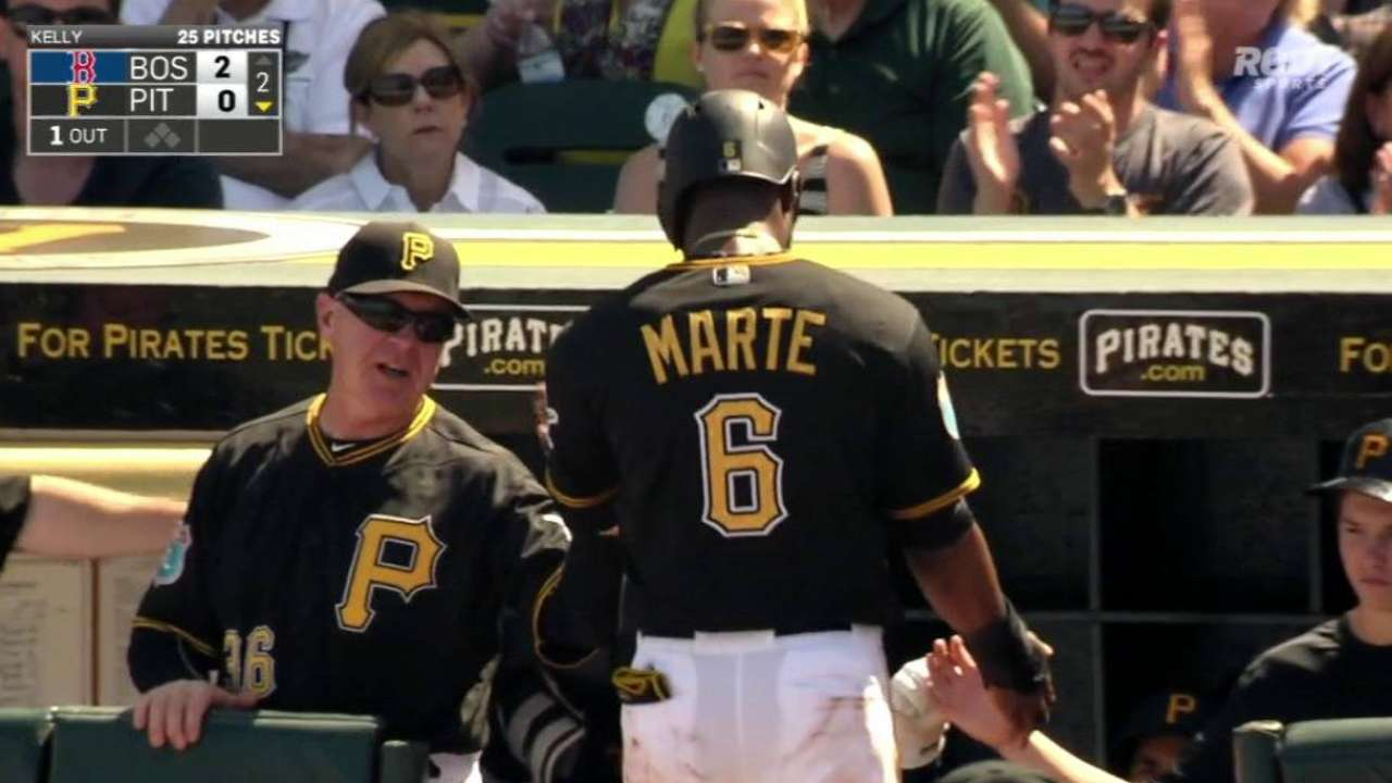 Marte scores on a wild pitch