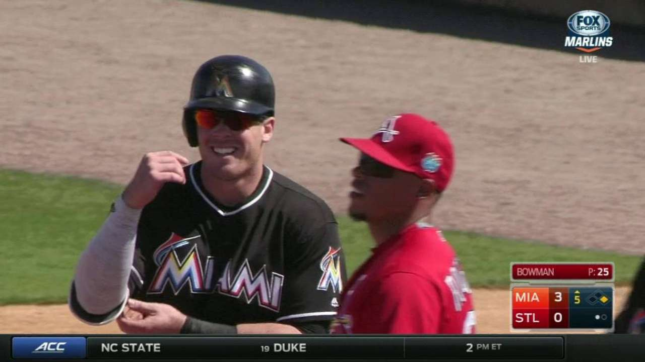 Bour, Marlins top Cards in Leake's solid debut