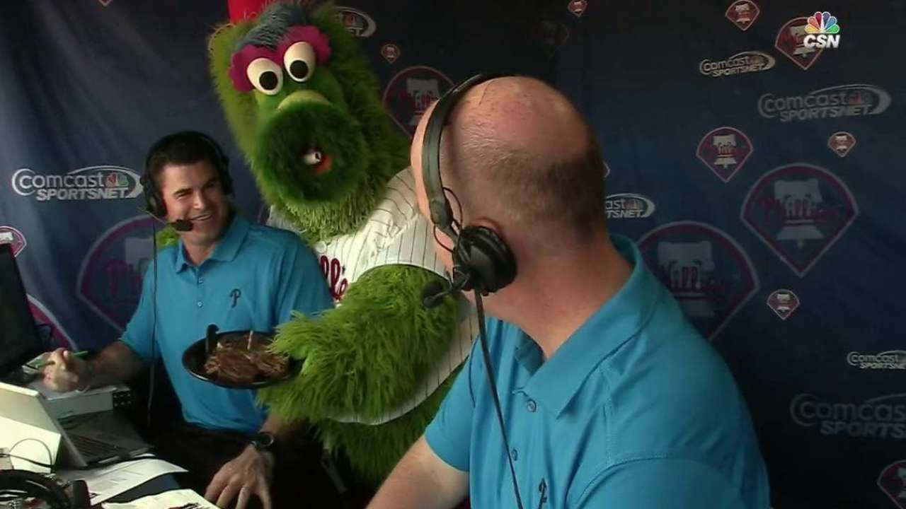 Phillie Phanatic joins the booth