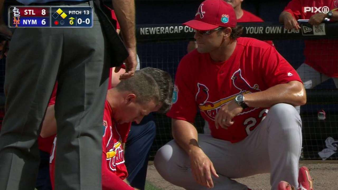 Piscotty OK after pitch hits left elbow