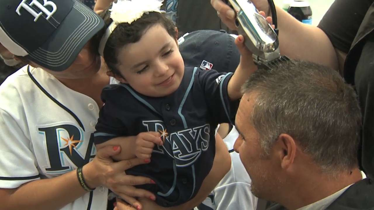 Rays have heads shaved to help cancer fight