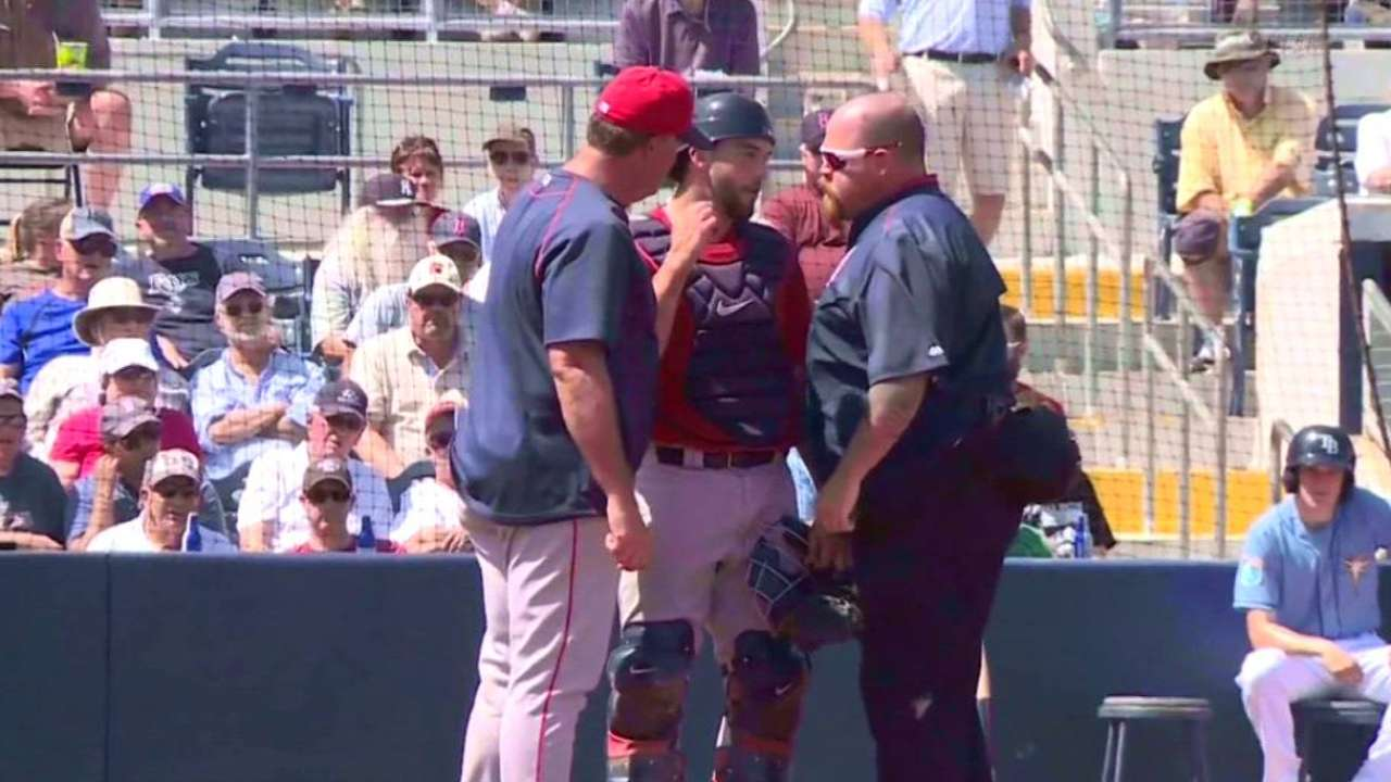 Swihart exits after foul off catcher's mask