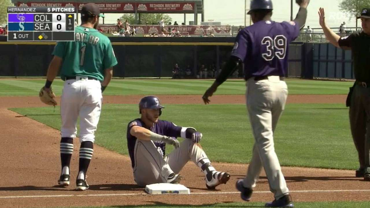 Story triples to center field