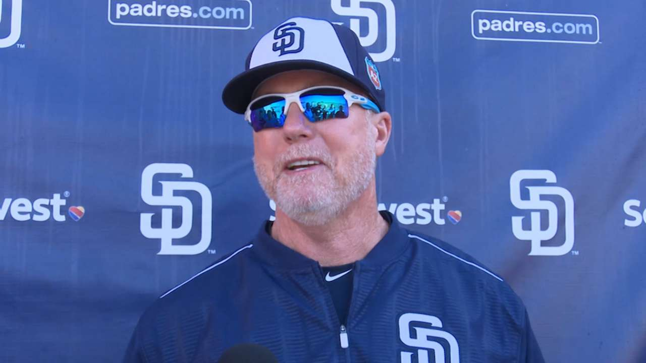 Bench coach McGwire returns to Padres camp