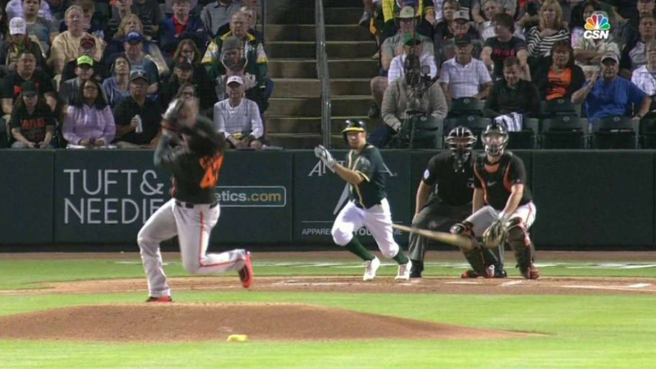 Cueto weathers line drive to head vs. A's