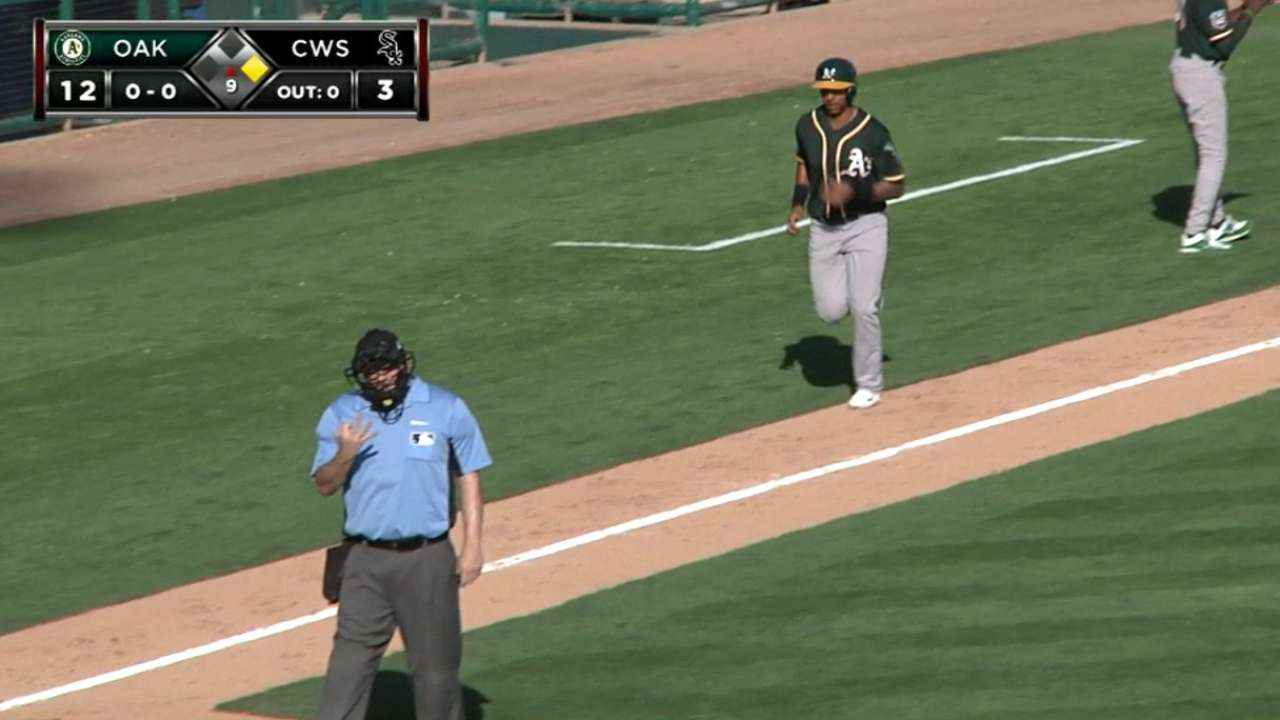 Prospect Chapman doing it all for A's