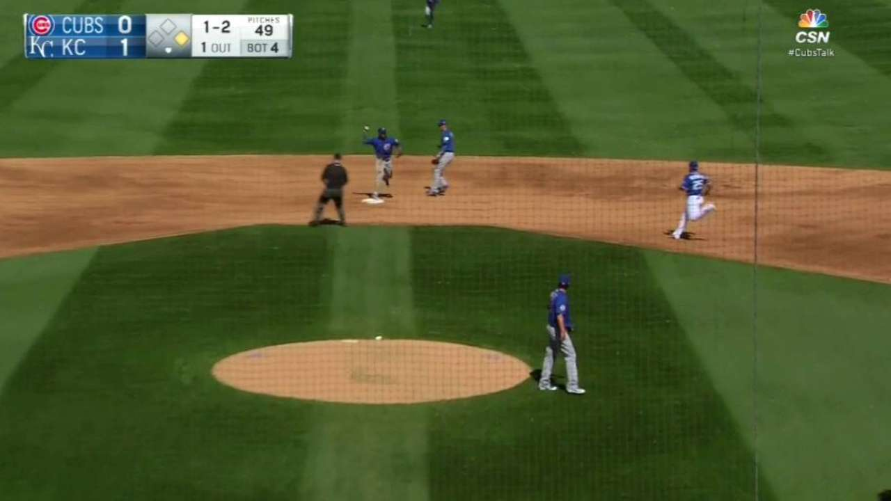Russell turns a double play
