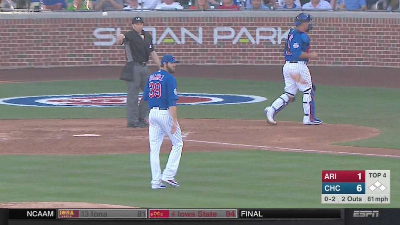 Hammel thrives again with Schwarber behind plate
