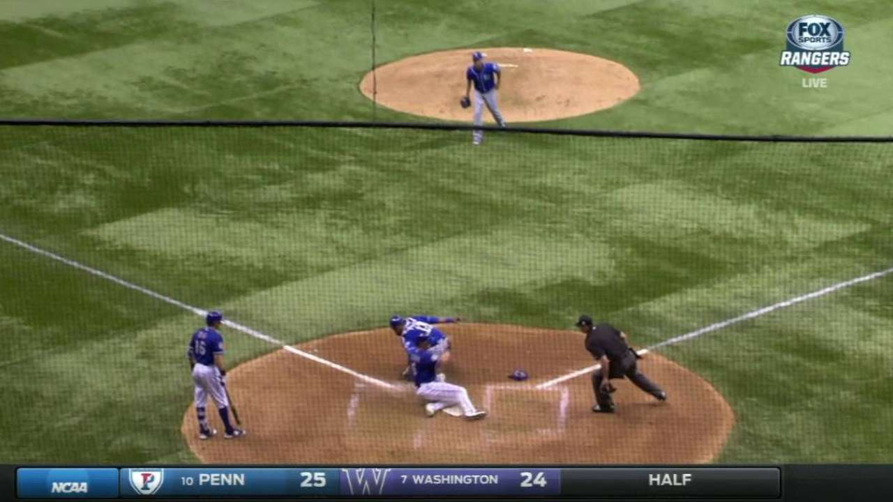 Stubbs scores on a double steal
