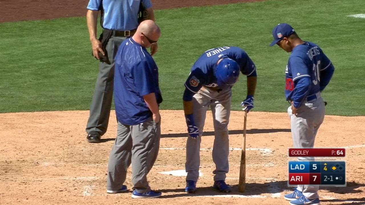 Ethier hit in shin, later exits