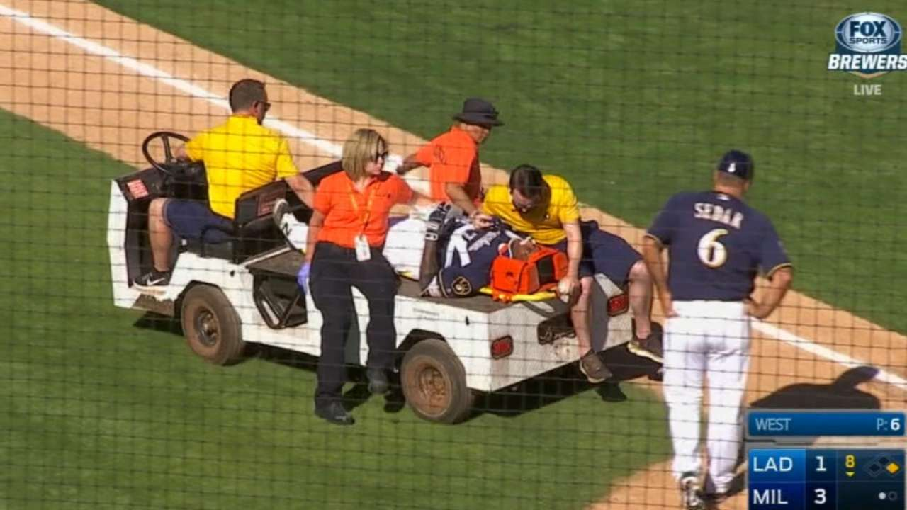 Liriano hit by pitch, carted off