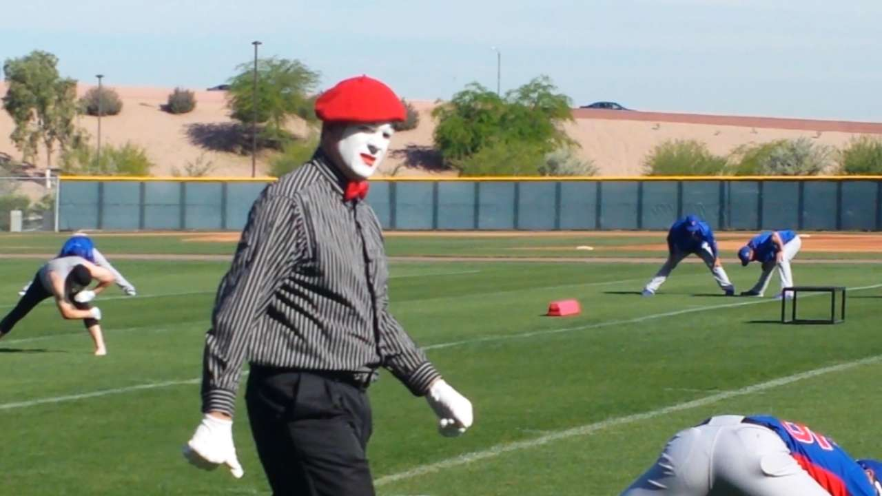 Send in the mimes: Cubs do light stretching