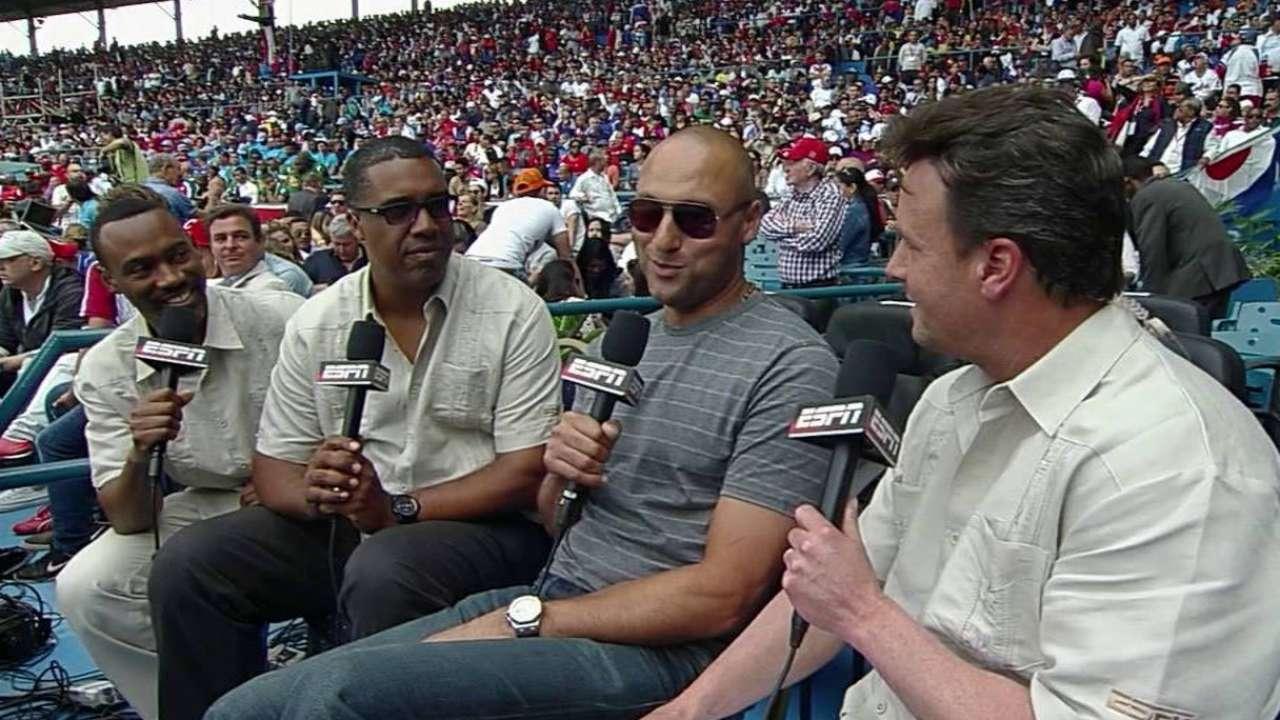 Jeter enjoys game between Rays and Cuba