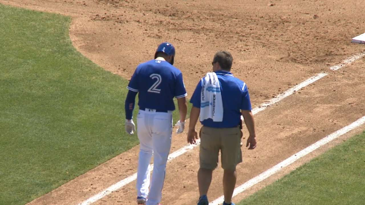 Tulo hit by pitch, exits game