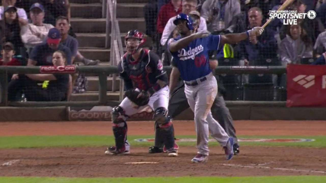 Puig back in Dodgers' lineup; Grandal throws
