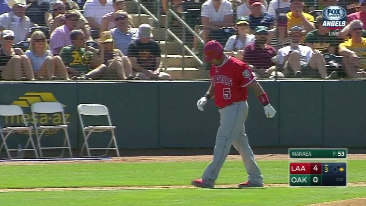 Pujols day to day after being hit in foot by pitch