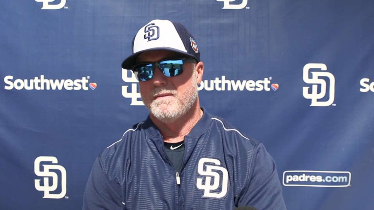 McGwire gets first crack at managing a game