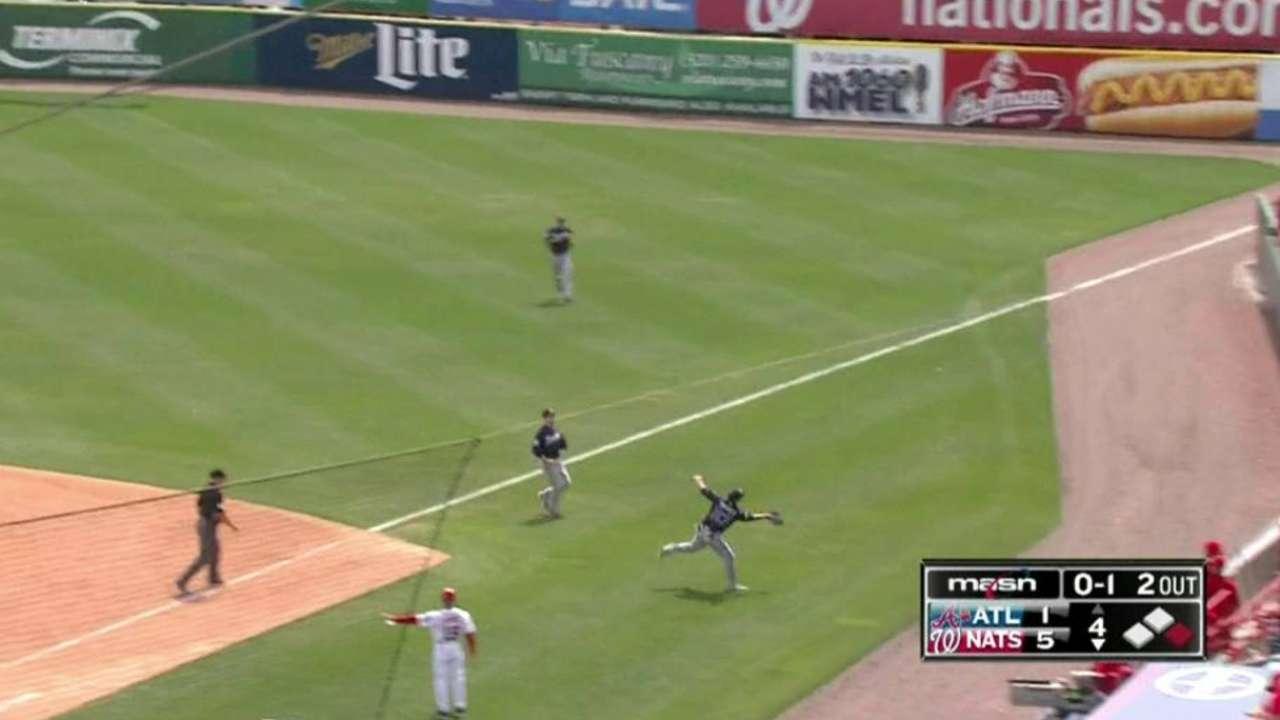 Swisher's catch in foul ground