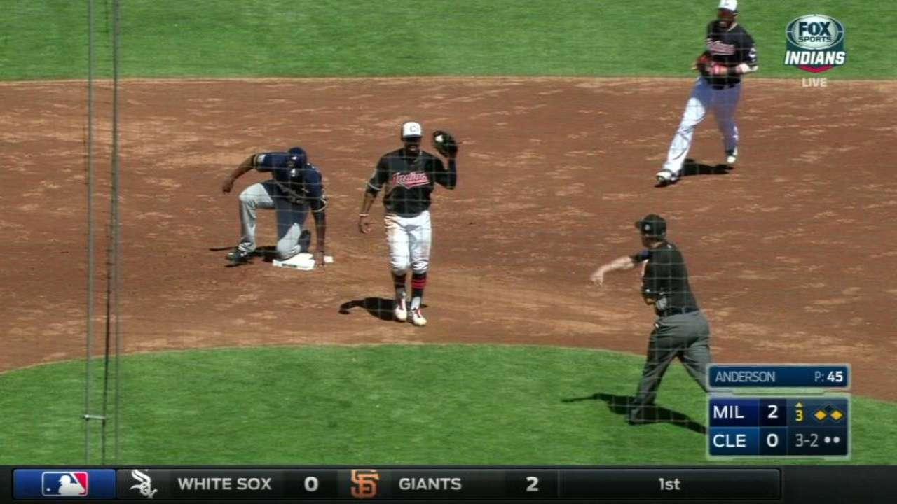Perez throws out Santana