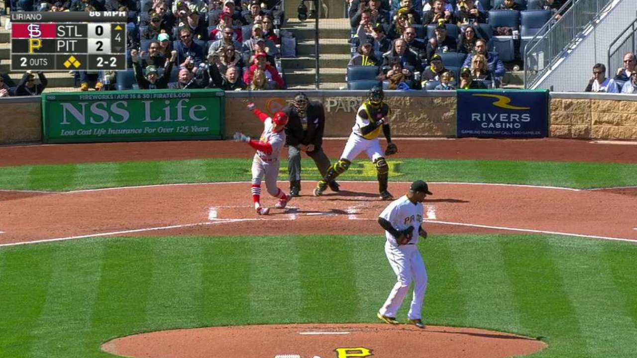Liriano escapes bases-loaded jam