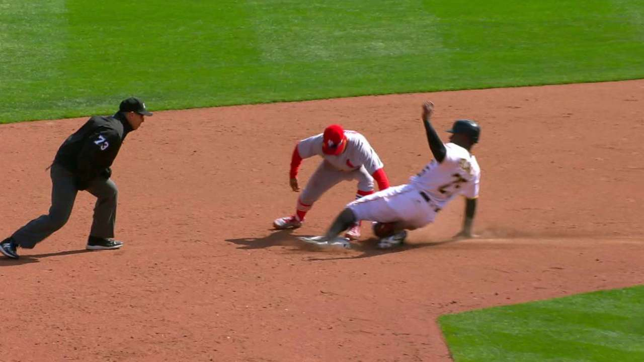Grichuk nabs Polanco at second
