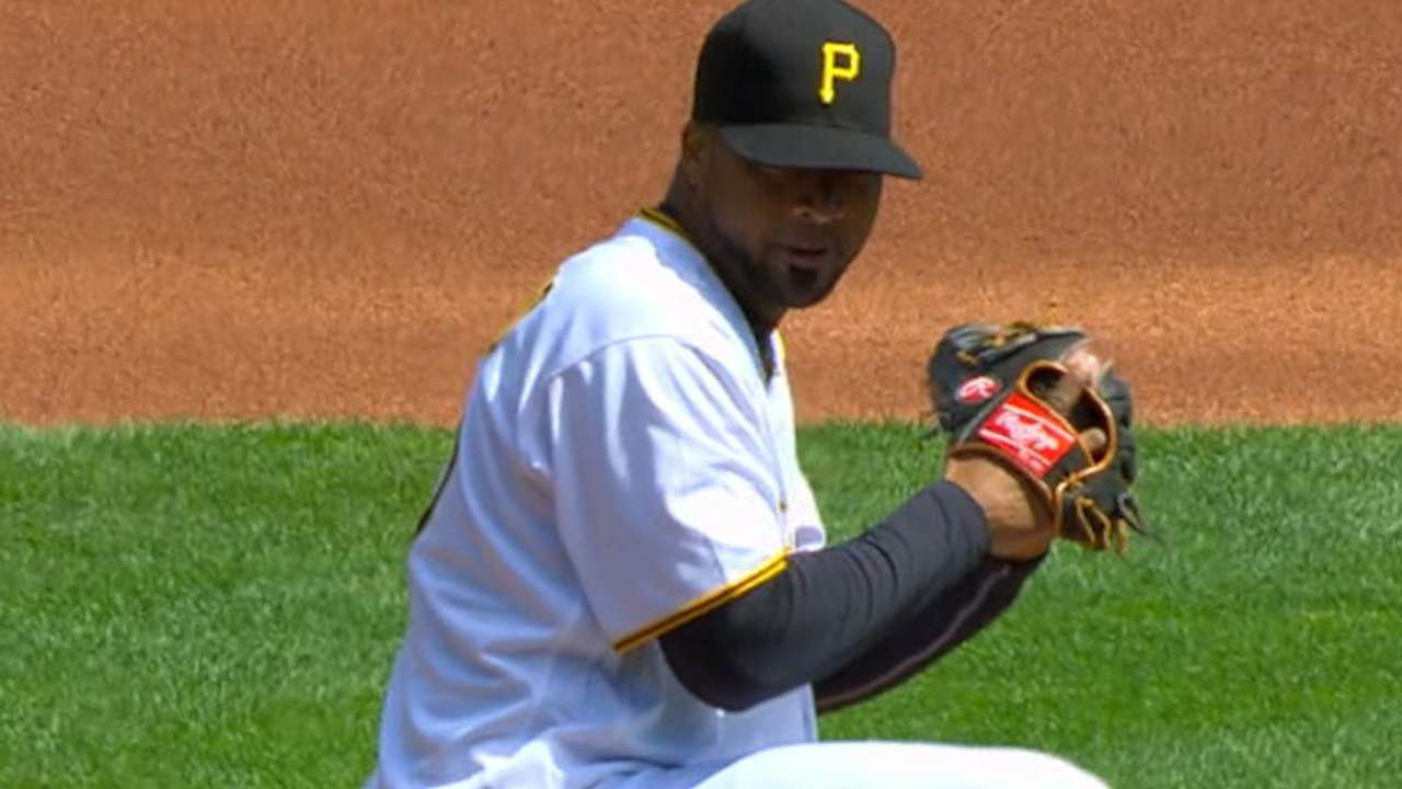 Liriano ties Pirates' opener K mark with 10
