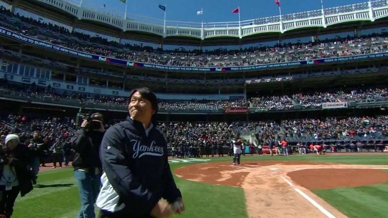 Matsui follows honor with ceremonial pitch
