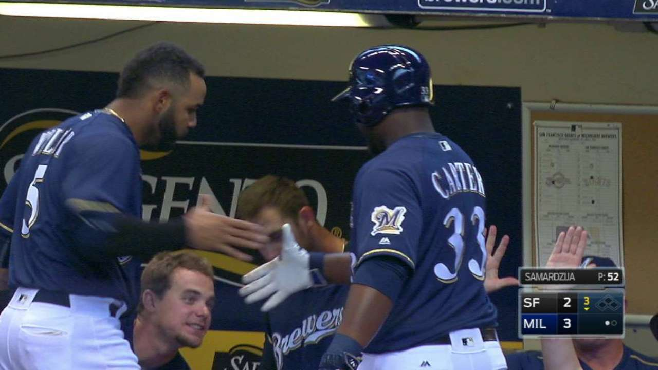 Carter leads Brewers over Giants in finale