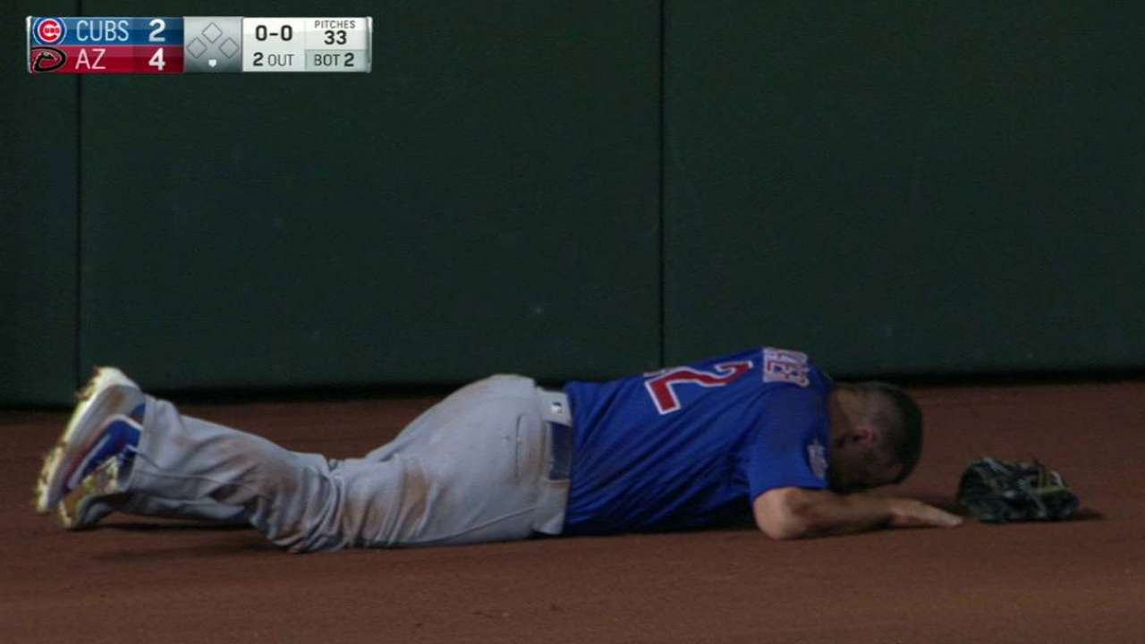 Schwarber leaves with an injury