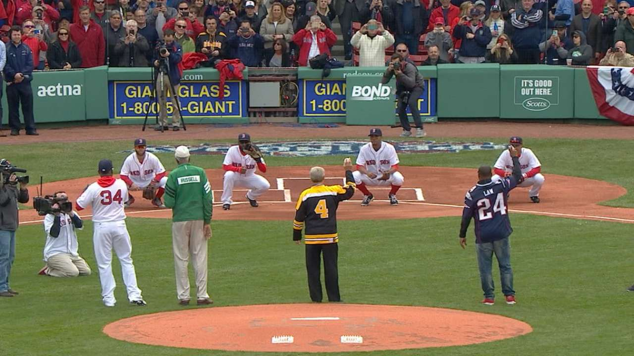 Boston greats toss first pitch