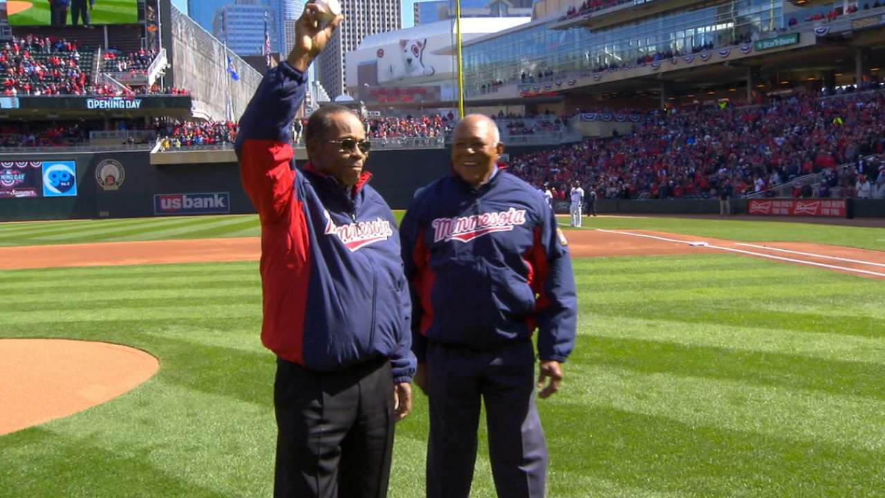 Twins have legends, fans involved at home opener