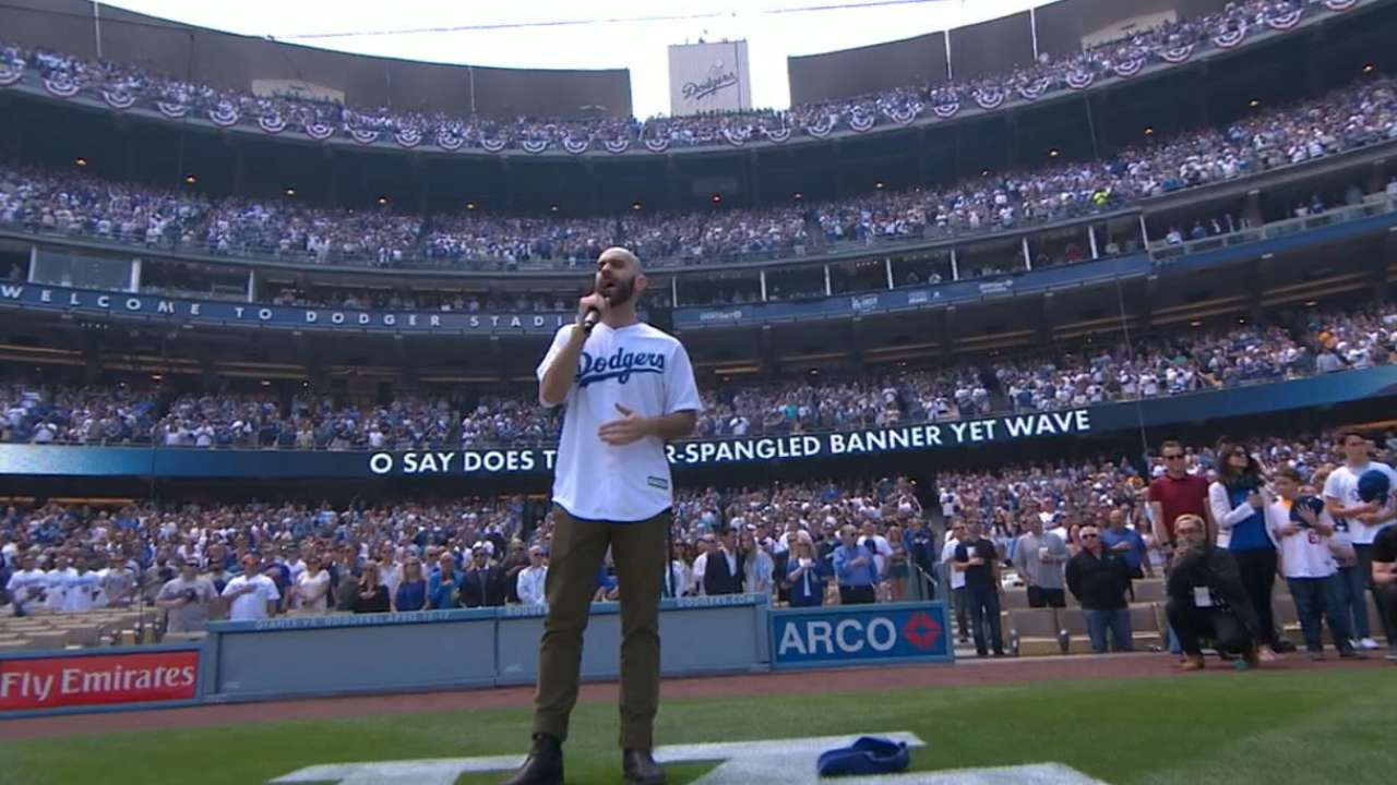 Sam Harris sings the anthem