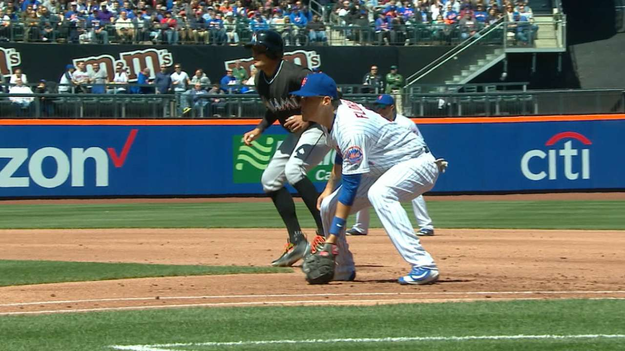Flores plays first base in first rehab game