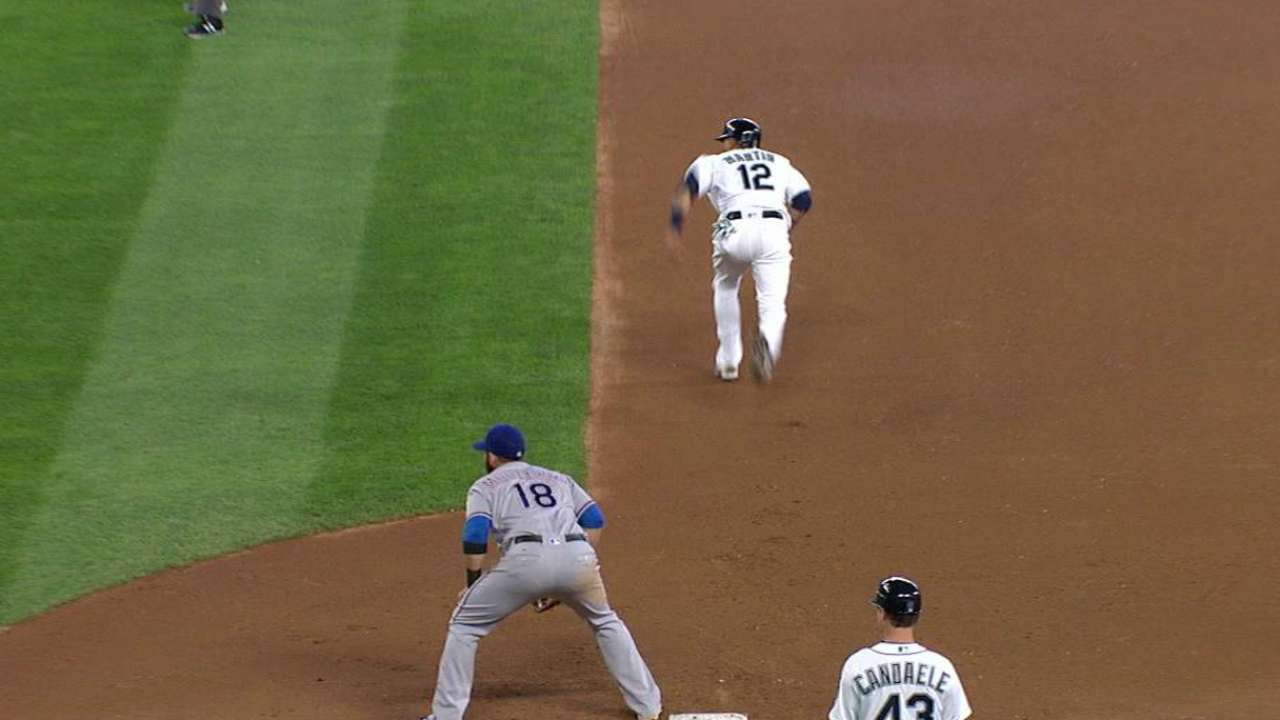 Martin steals second on pickoff